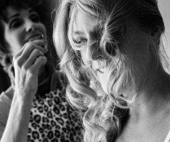 meleah-prepping-hair-for-wedding